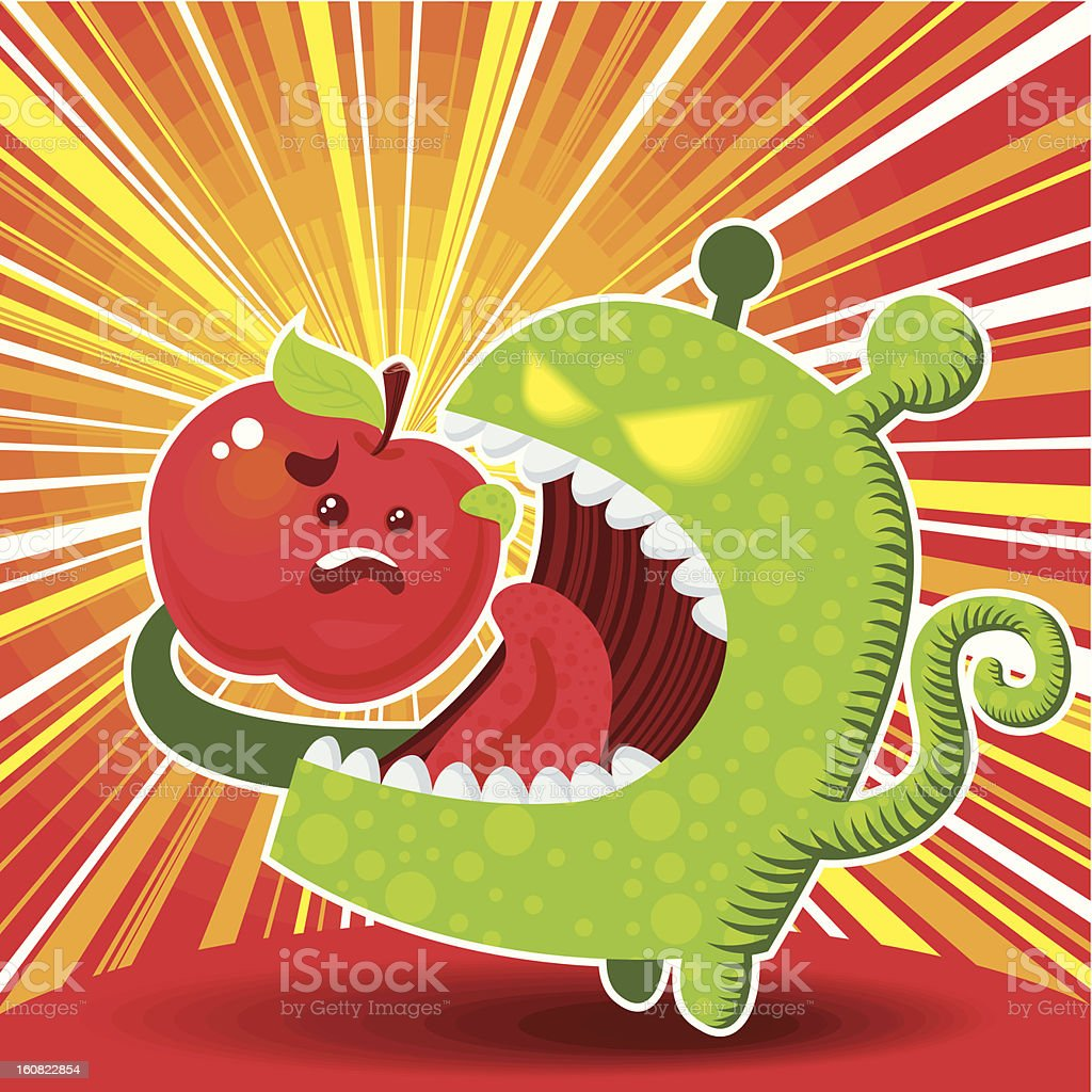 Green Alien Eating Apple (OS War) vector art illustration