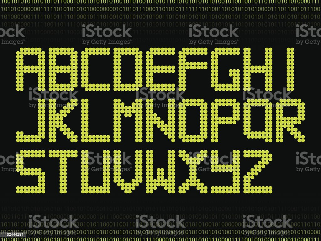 Green alphabet with dots vector art illustration