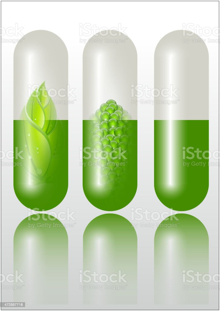 Verde concepto de medicamentos alternativos illustracion libre de derechos libre de derechos