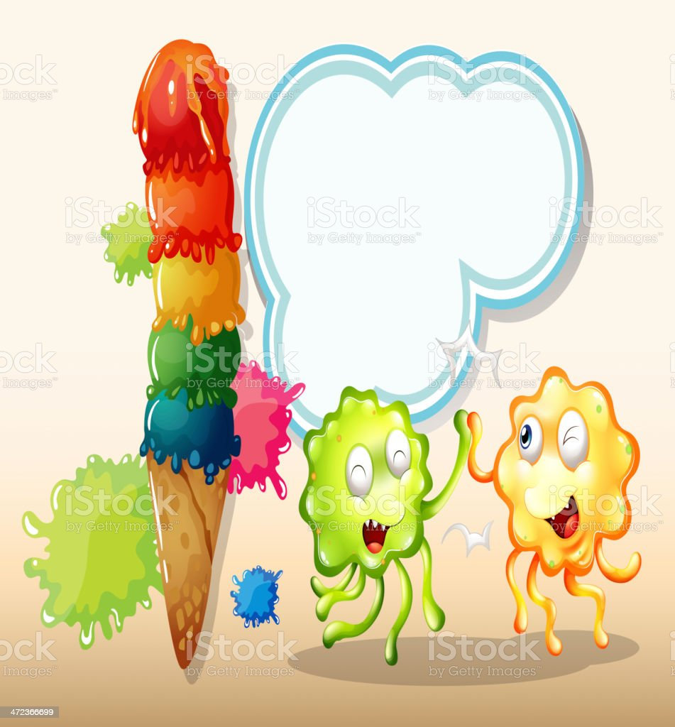 green and an orange monster playing near the giant icecream royalty-free stock vector art