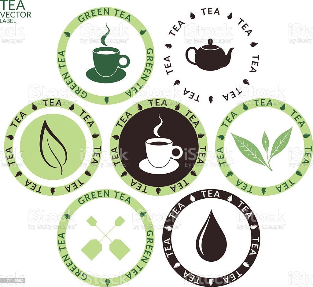 Green and black icon set of tea vector art illustration