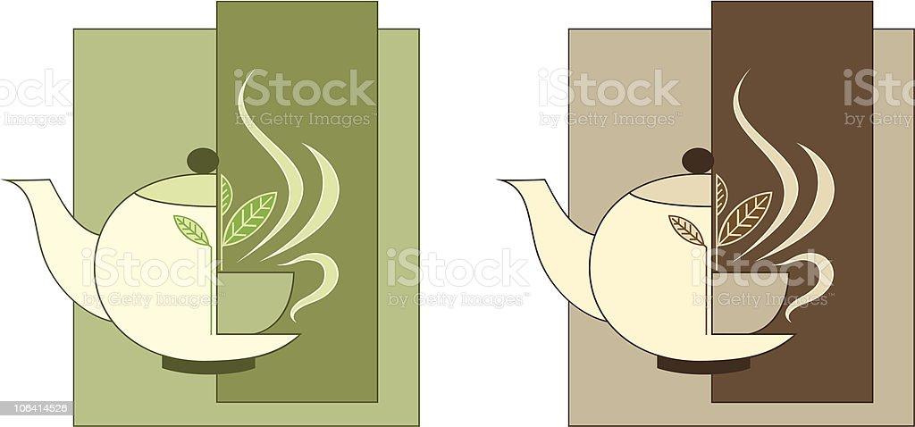 green and black tea vector art illustration