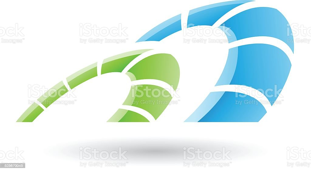 Green and Blue Abstract Icon vector art illustration