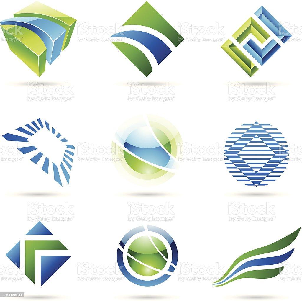 Icônes abstraites vertes et bleues stock vecteur libres de droits libre de droits