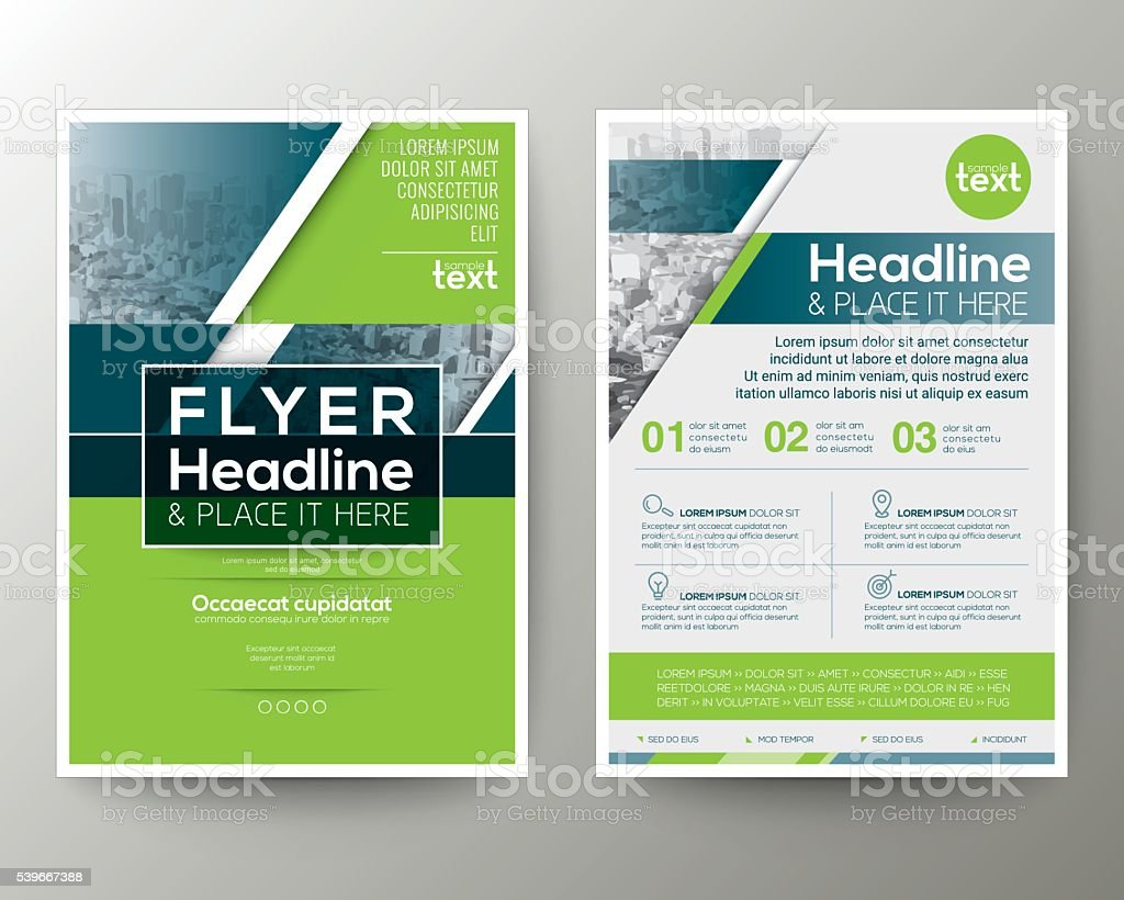 green and blue geometric poster brochure flyer design template 1 credit