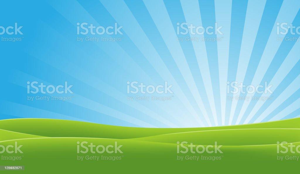 Green And Blue Landscape vector art illustration