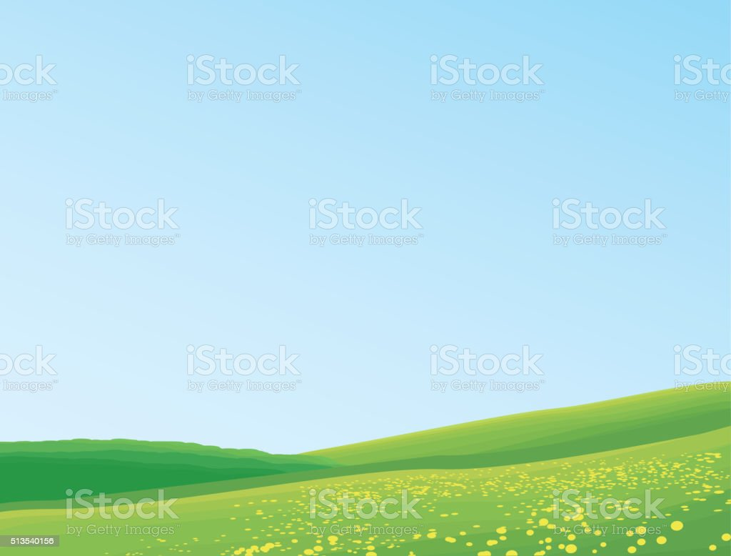 Green And Blue Landscape vector art illustration