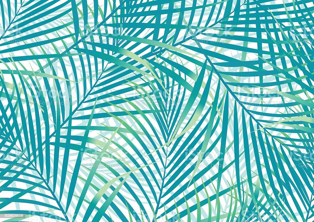 Green and blue palm leaves background vector art illustration
