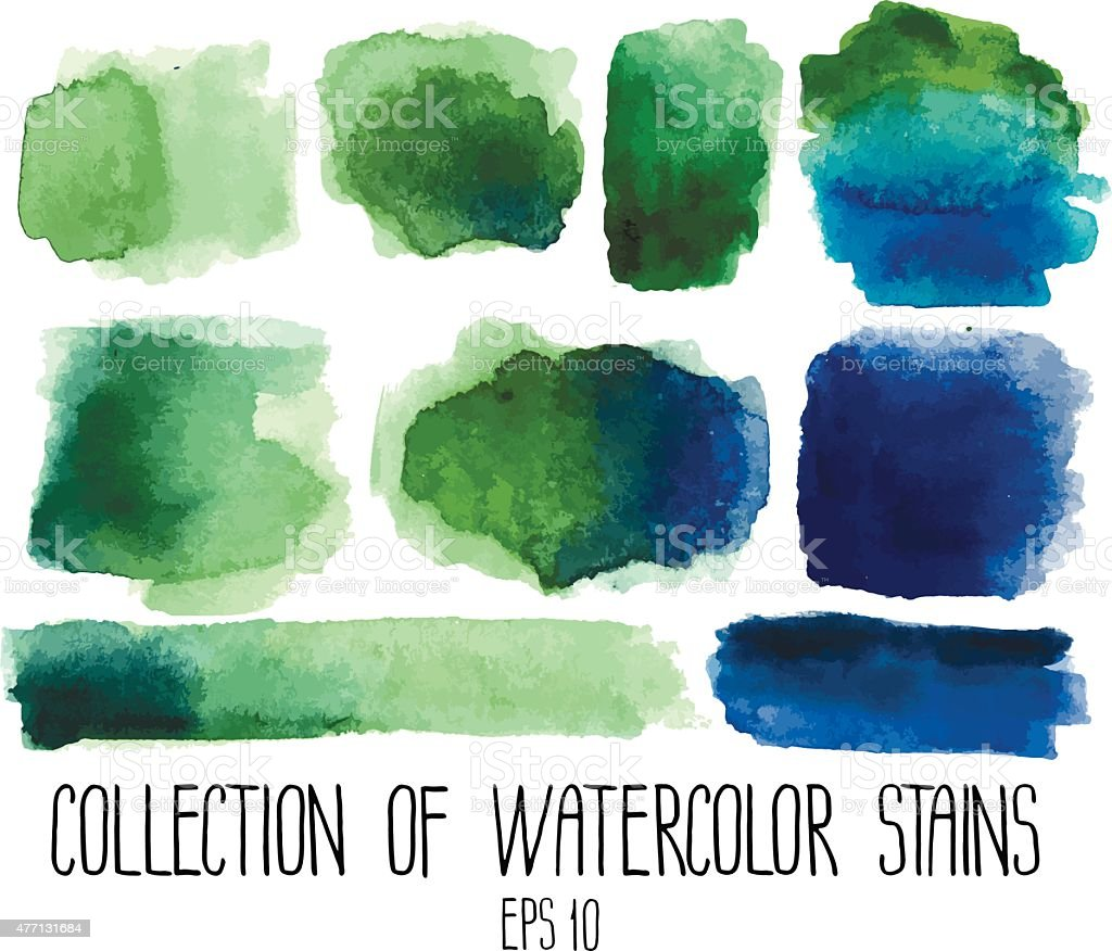 Green and blue watercolor stains vector art illustration