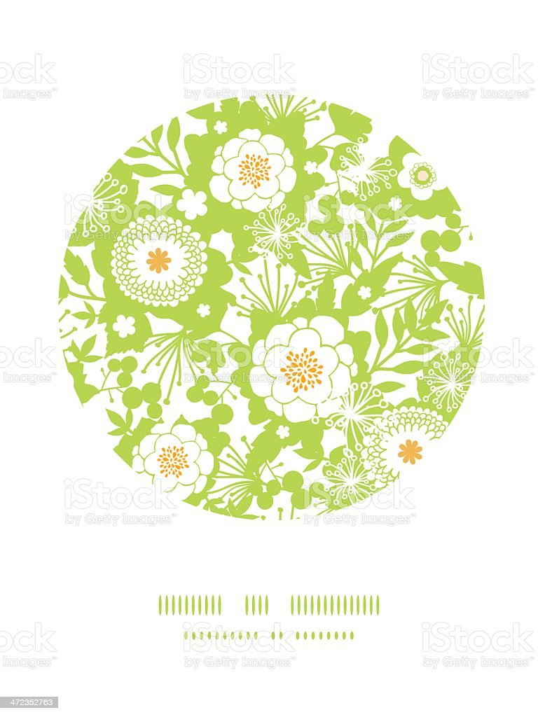 Green and golden garden silhouettes circle decor pattern background royalty-free stock vector art