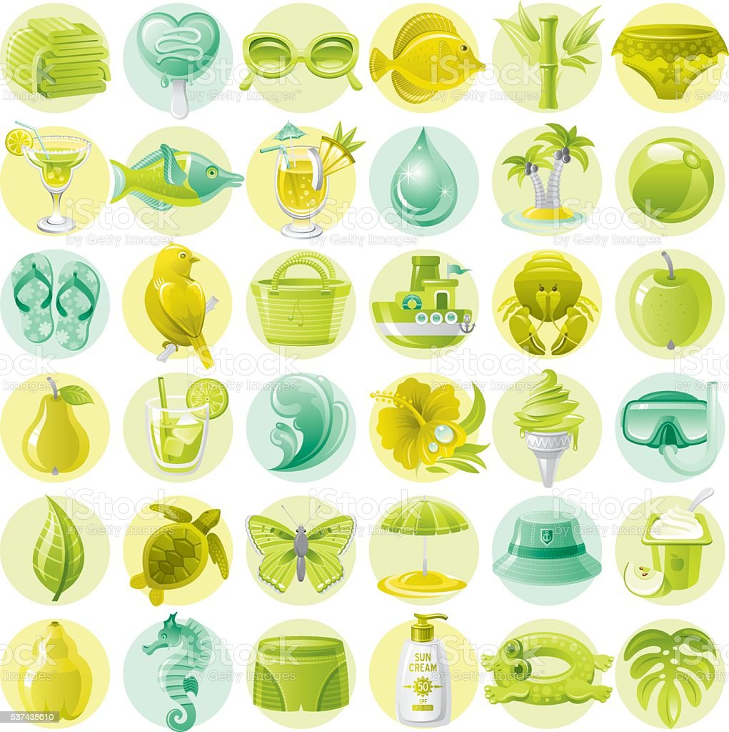 Green and lime vacation icons vector art illustration