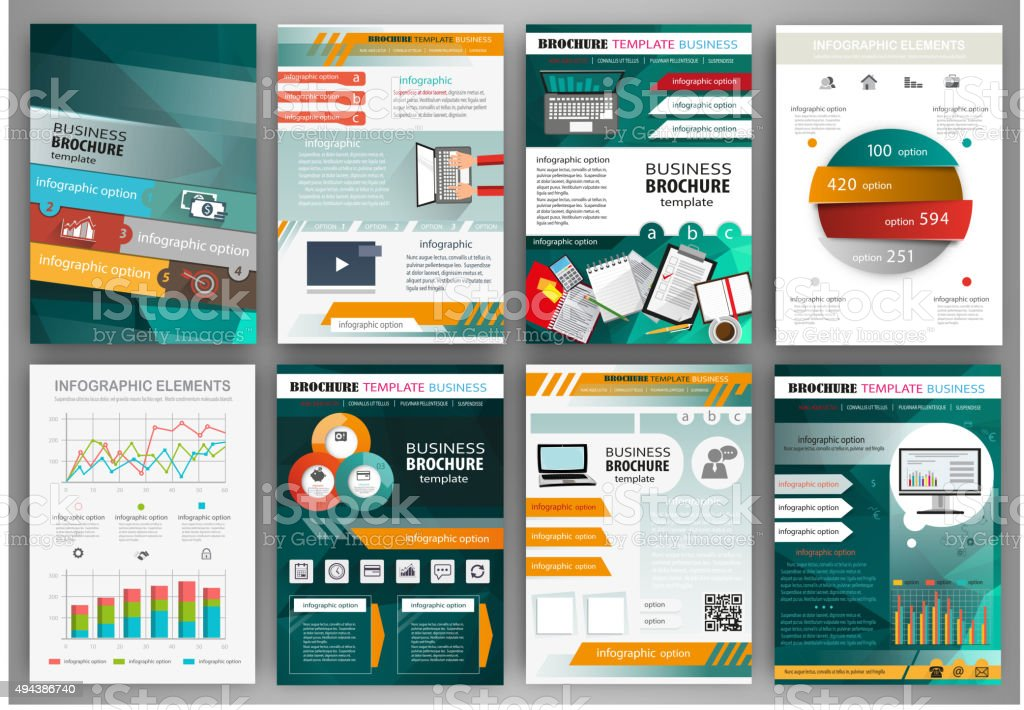Green and orange business brochure template with infographic vector art illustration