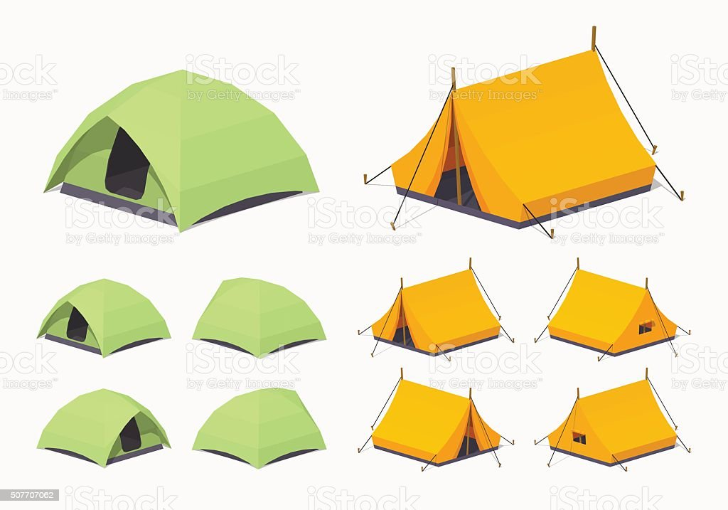 Green and orange camping tents vector art illustration