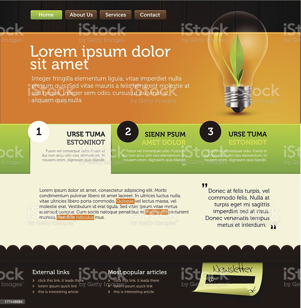 A green and orange web page design royalty-free stock vector art