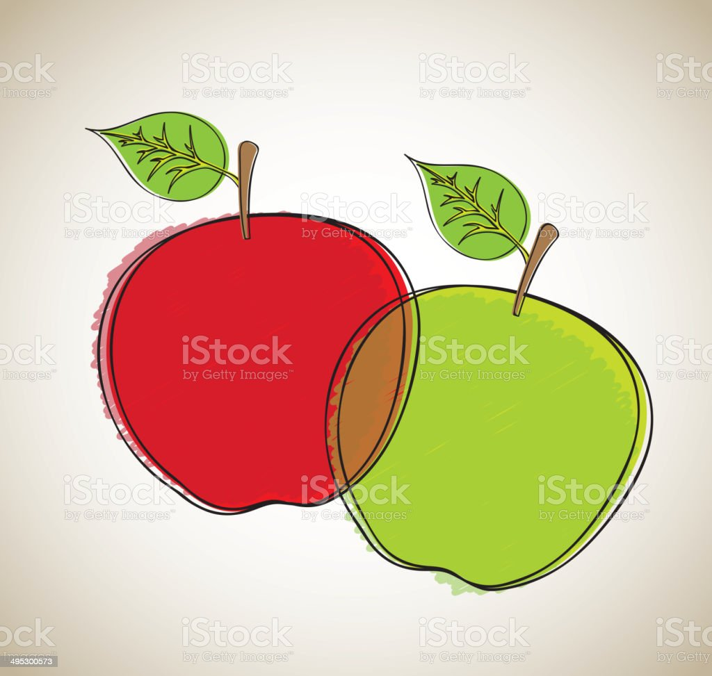 Green and red apple vector art illustration