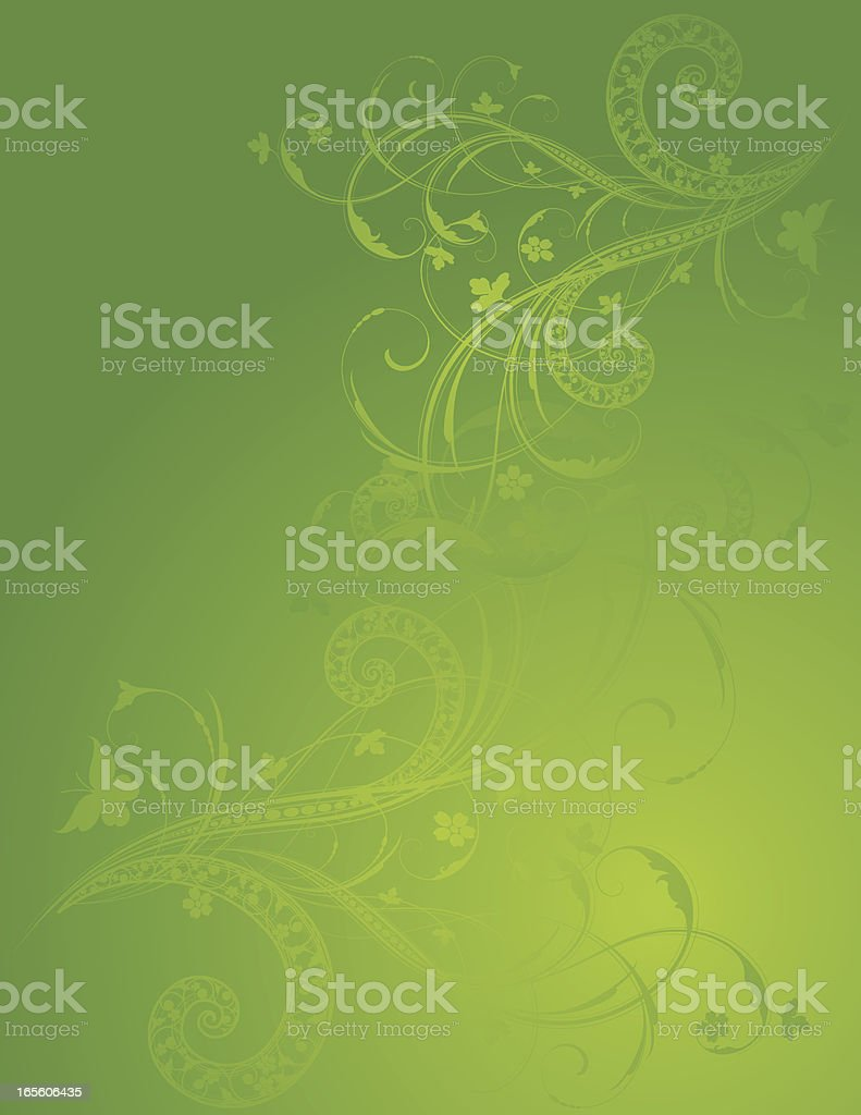 Green and Scroll Background royalty-free stock vector art