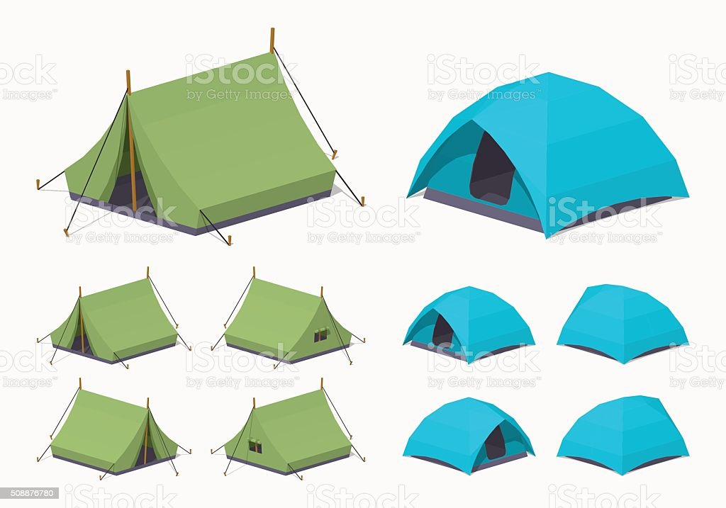 Green and sky-blue camping tents vector art illustration