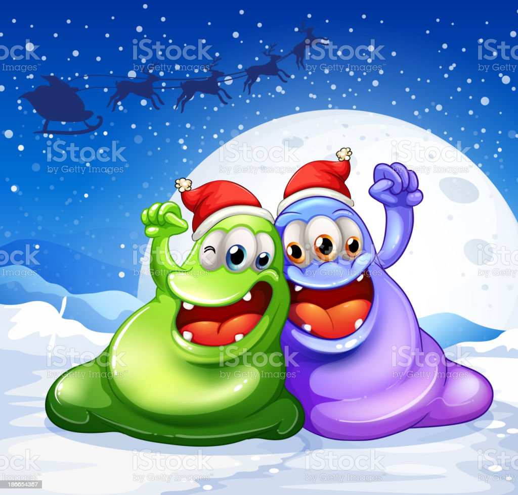 green and violet monster wearing red hat for christmas royalty-free stock vector art