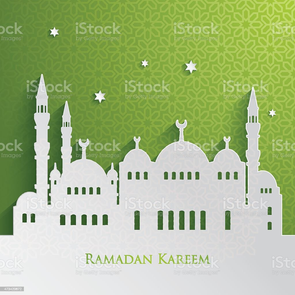 Green and white greeting card for Ramadan vector art illustration