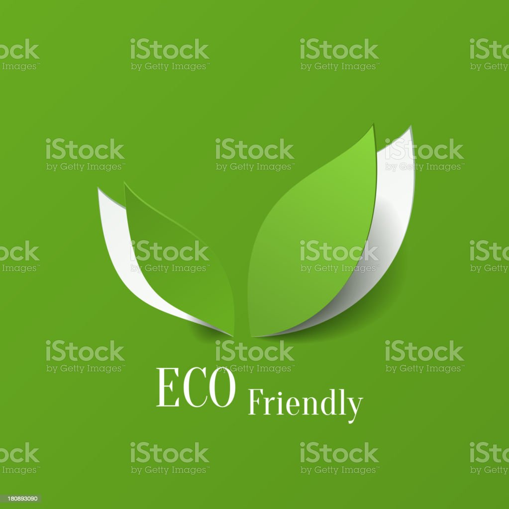 Green and white icon for eco friendly background vector art illustration