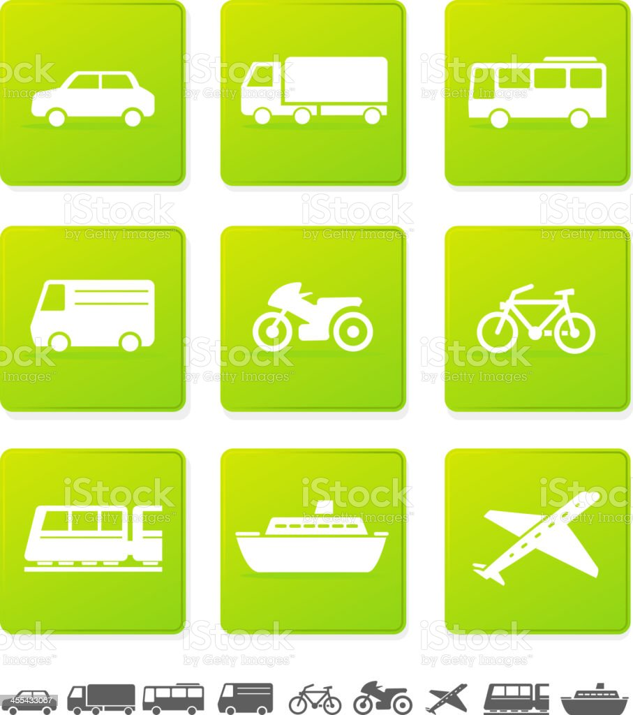 Green and white transportation icons vector art illustration