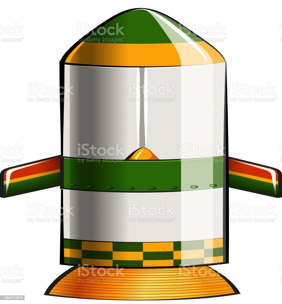 Green and yellow colored rocket vector art illustration