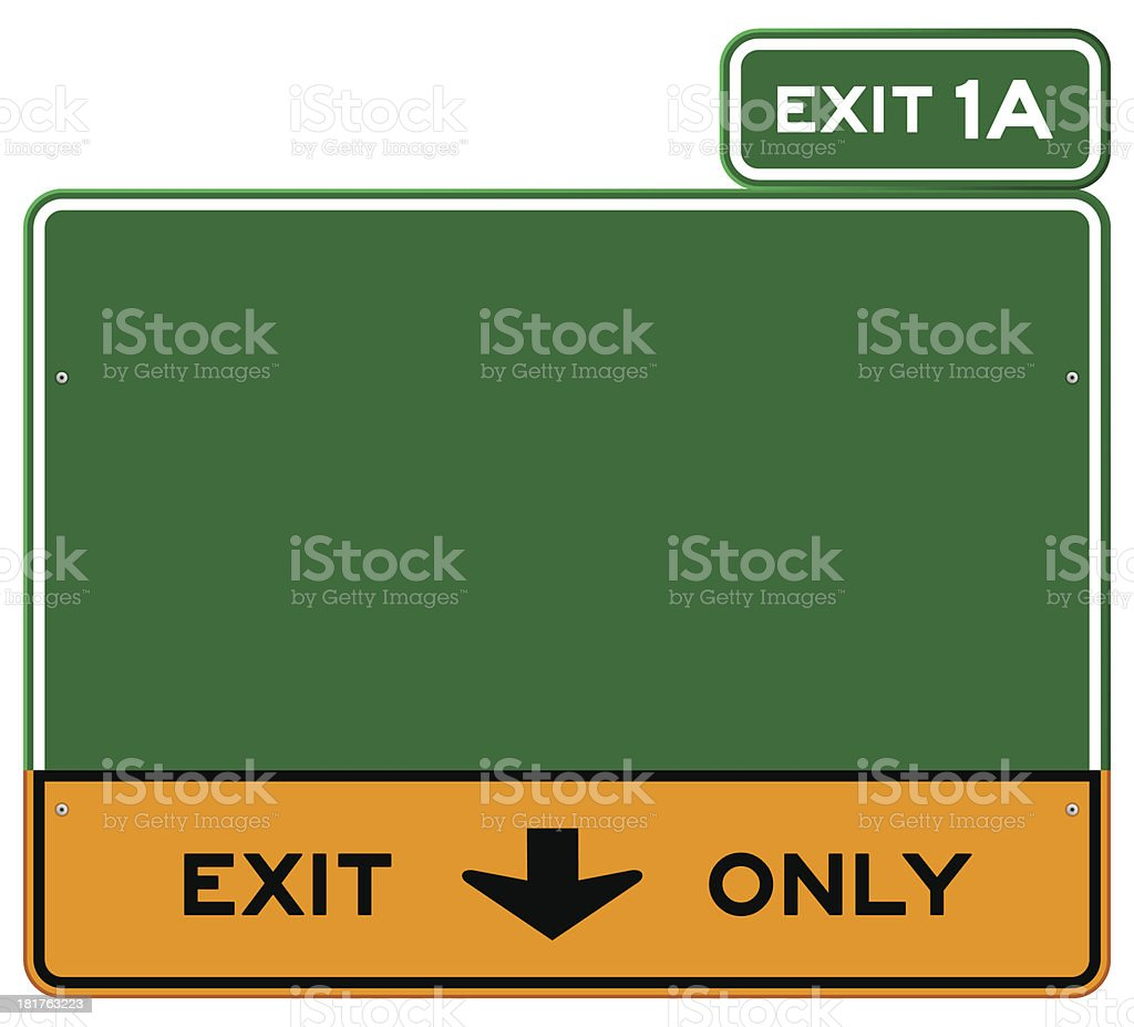Green and yellow Exit Only sign with green Exit 1A sign vector art illustration