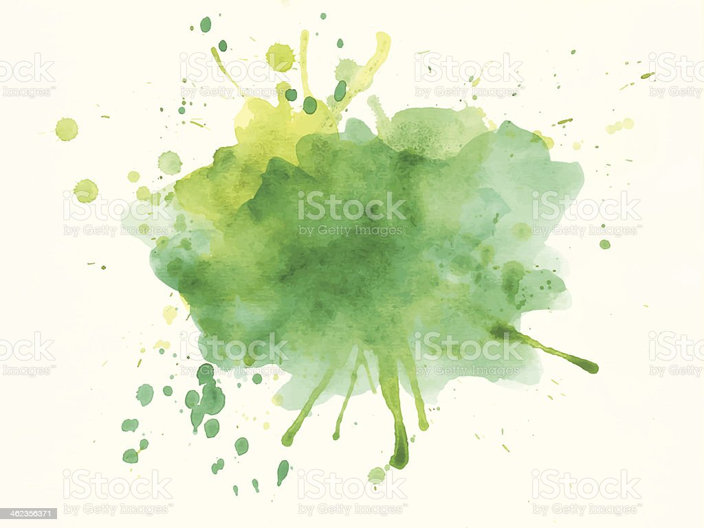 Green and Yellow Watercolor Splash vector art illustration