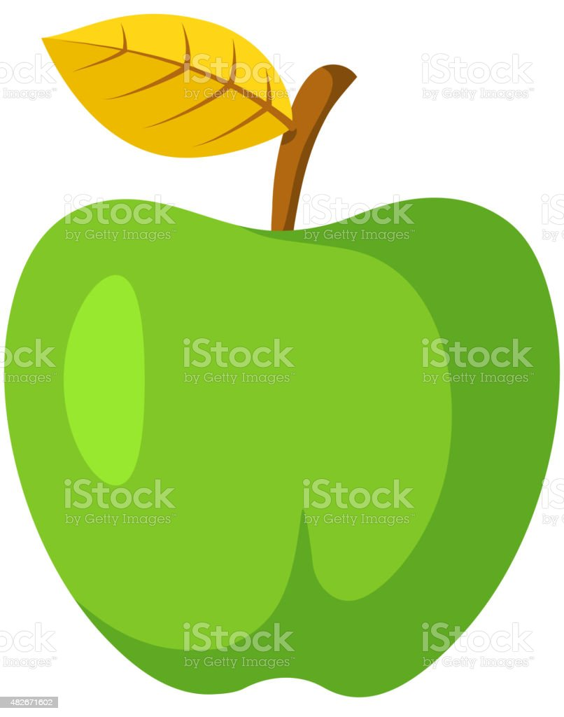 Green apple fruit. vector art illustration