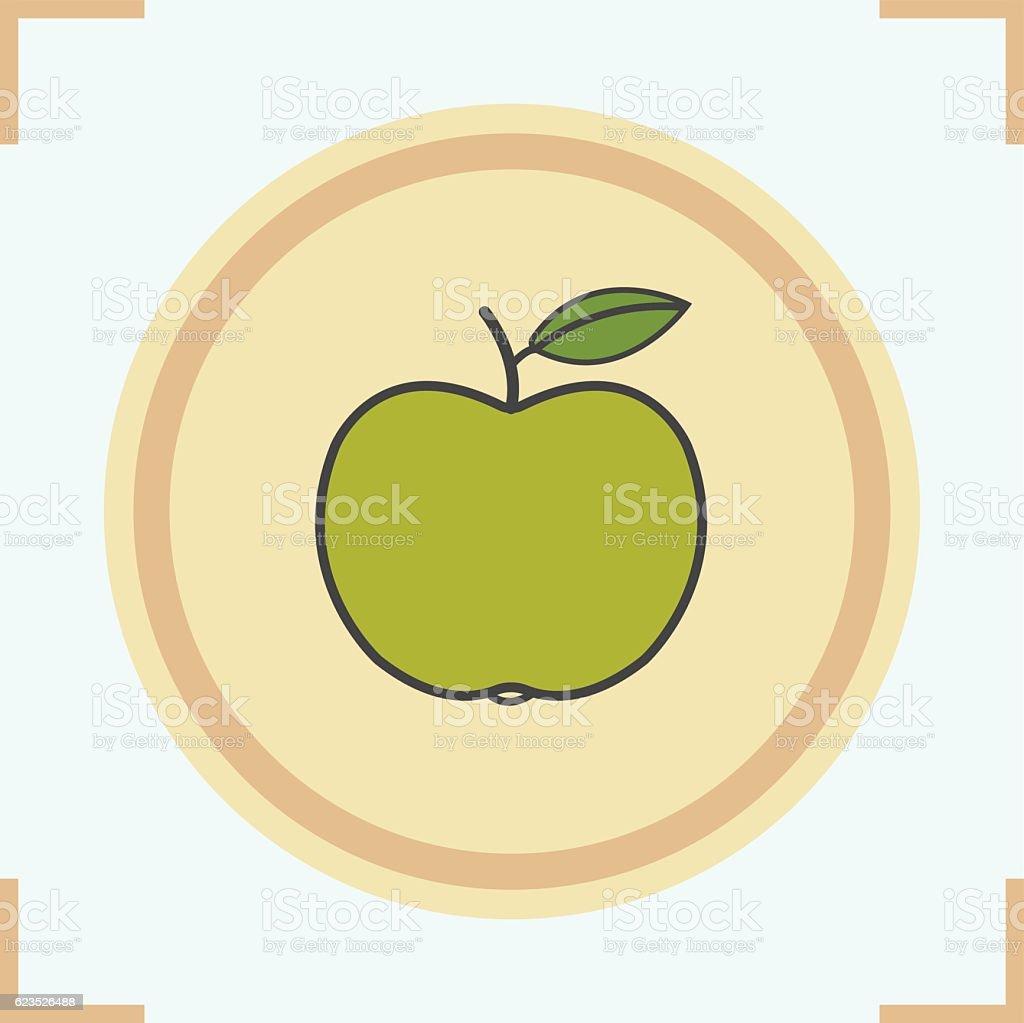 Green apple icon vector art illustration