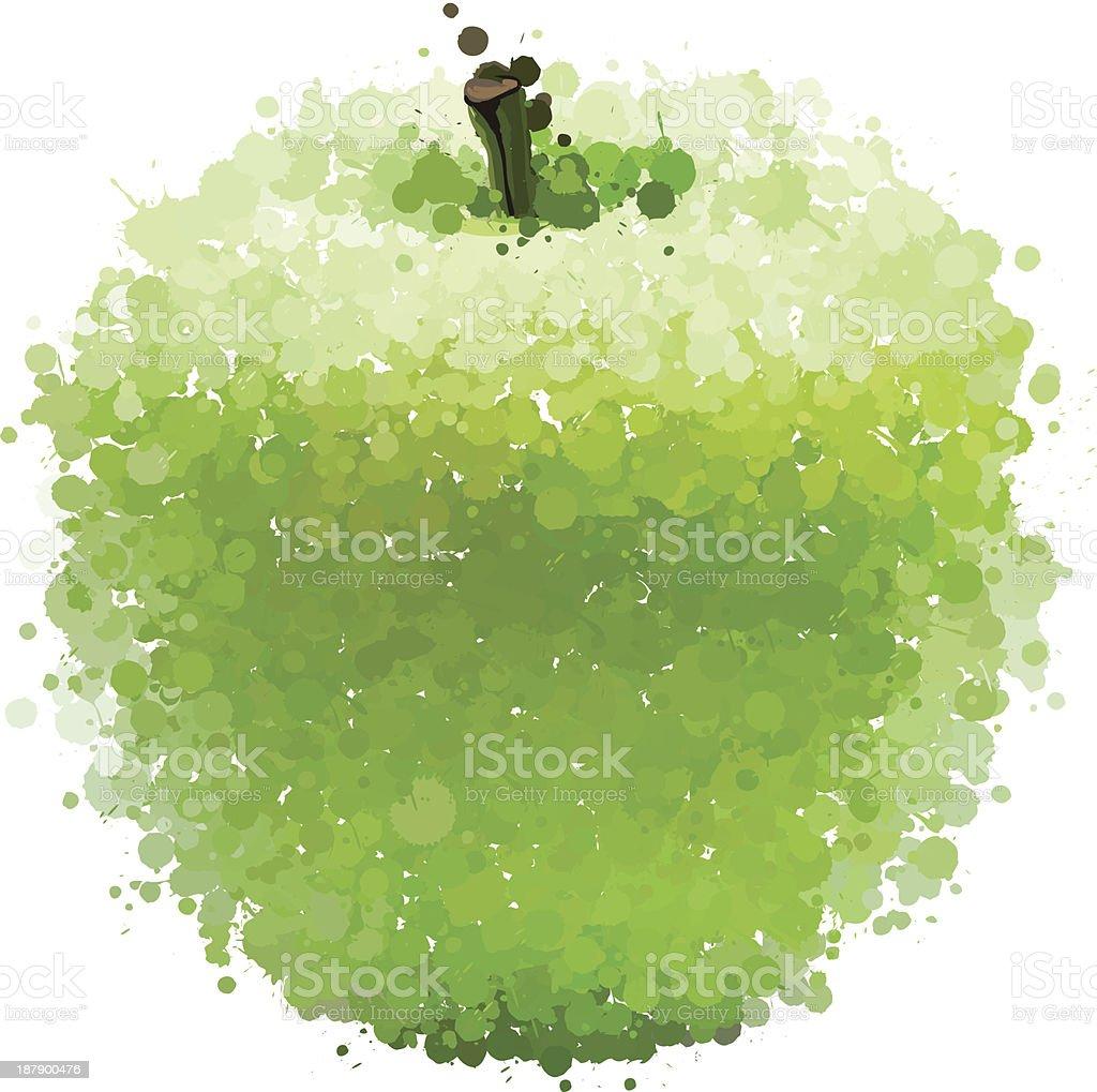 Maçã verde de blots vetor isolada no branco vetor e ilustração royalty-free royalty-free