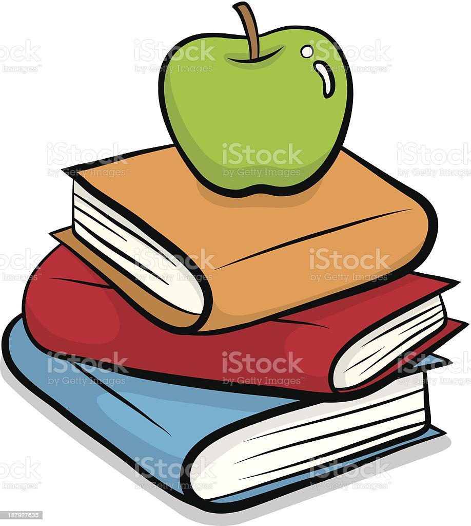 green apple put on pile of books royalty-free stock vector art