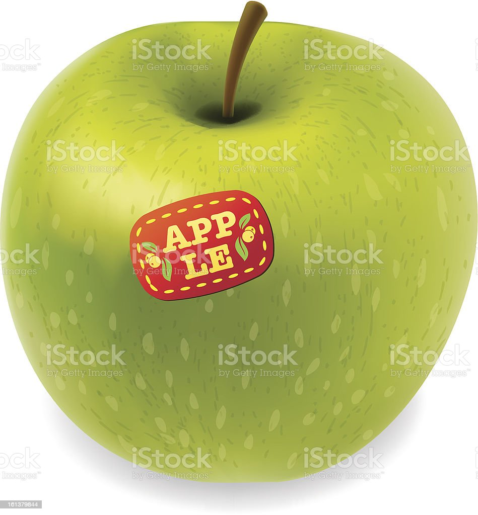Green apple vector isolated on white background. vector art illustration