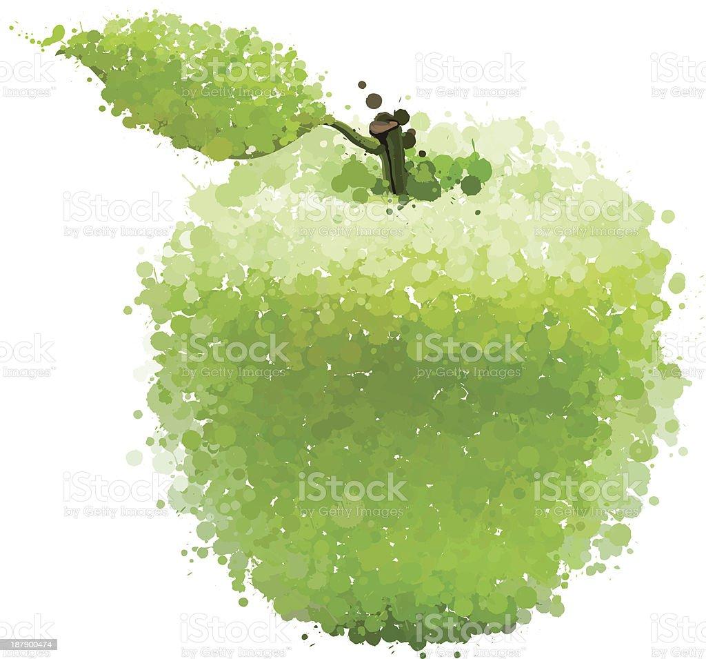 Maçã verde com folha de blots vetor vetor e ilustração royalty-free royalty-free
