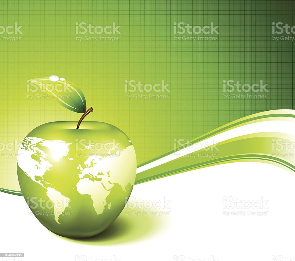Green apple world globe map internet background royalty-free stock vector art