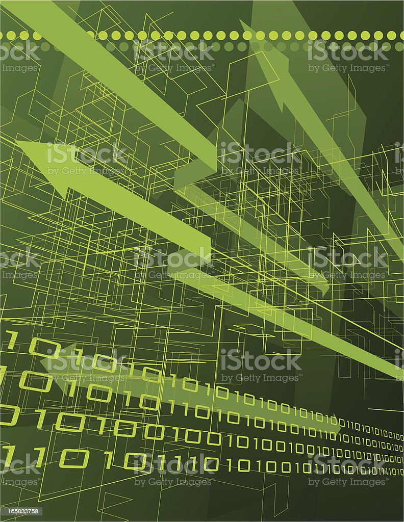 Green arrows and binary data abstract background royalty-free stock vector art