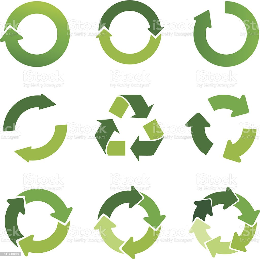 green arrows and recycling symbol set vector art illustration