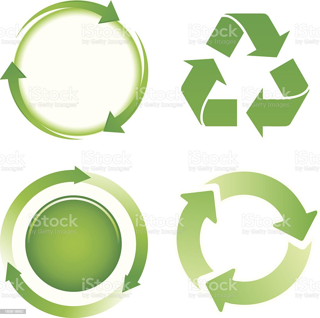 green arrows cycle icons vector art illustration