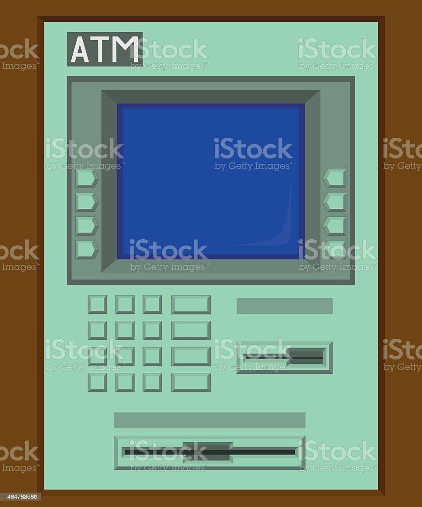 Green ATM machine vector art illustration