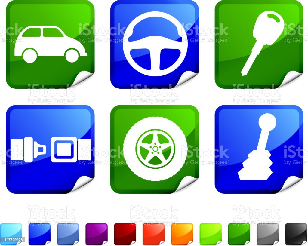 green auto royalty free vector icon set royalty-free stock vector art