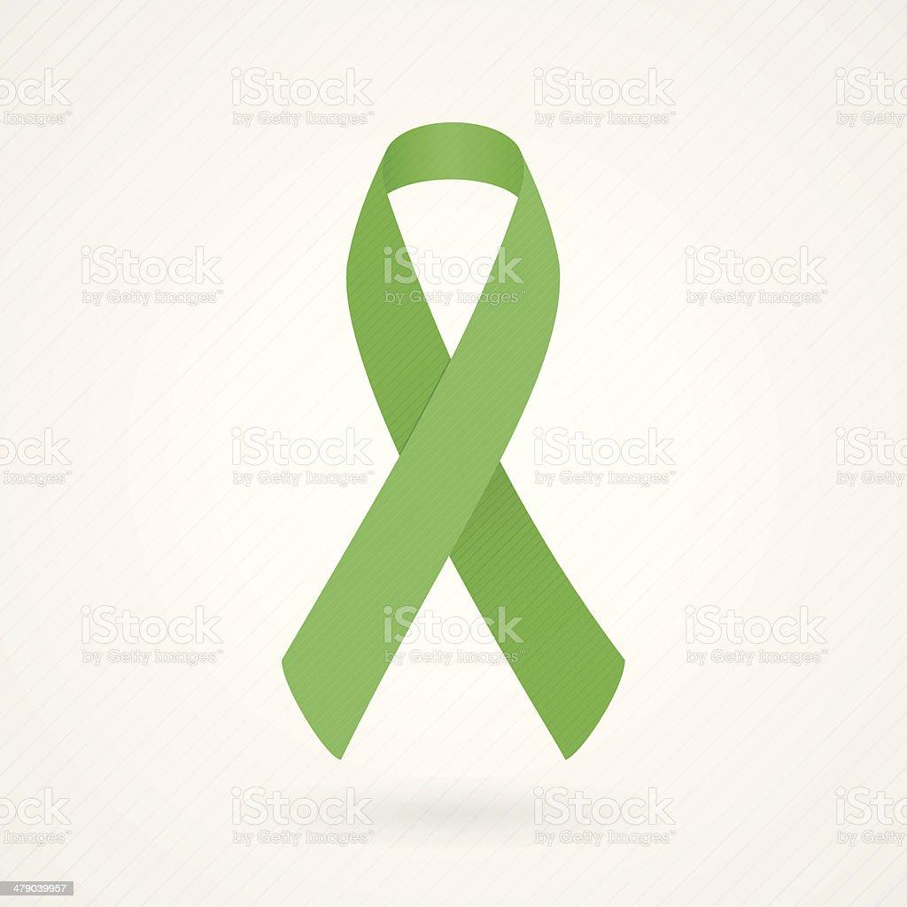 Green awareness ribbon vector art illustration