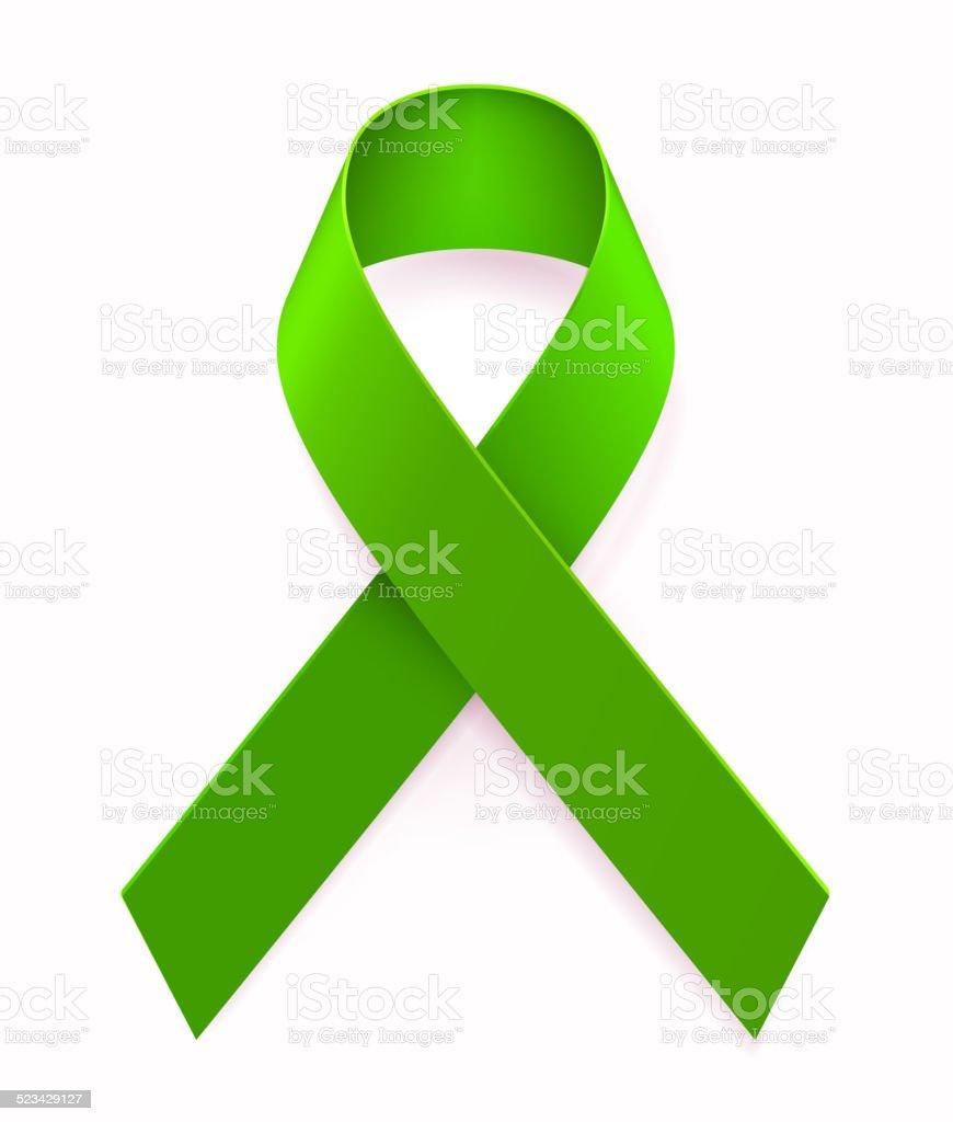 Green Awarness Ribbon vector art illustration
