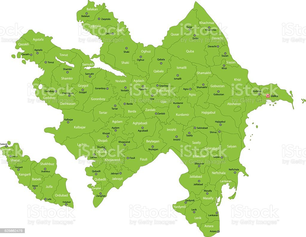 Green Azerbaijan map vector art illustration