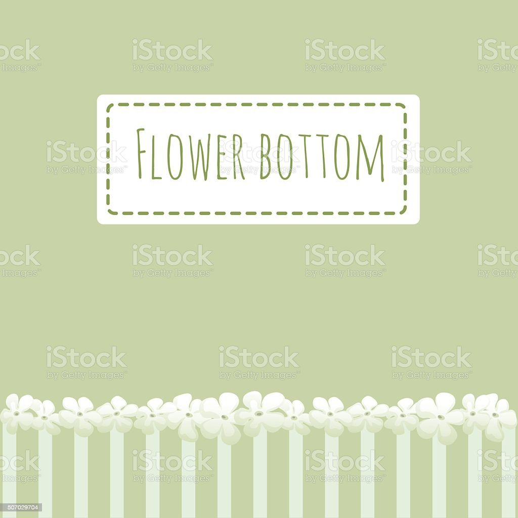 Green background with flowers fence vector art illustration
