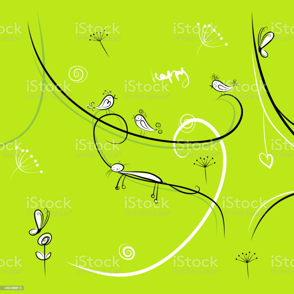 Green background with funny birds for your design royalty-free stock vector art