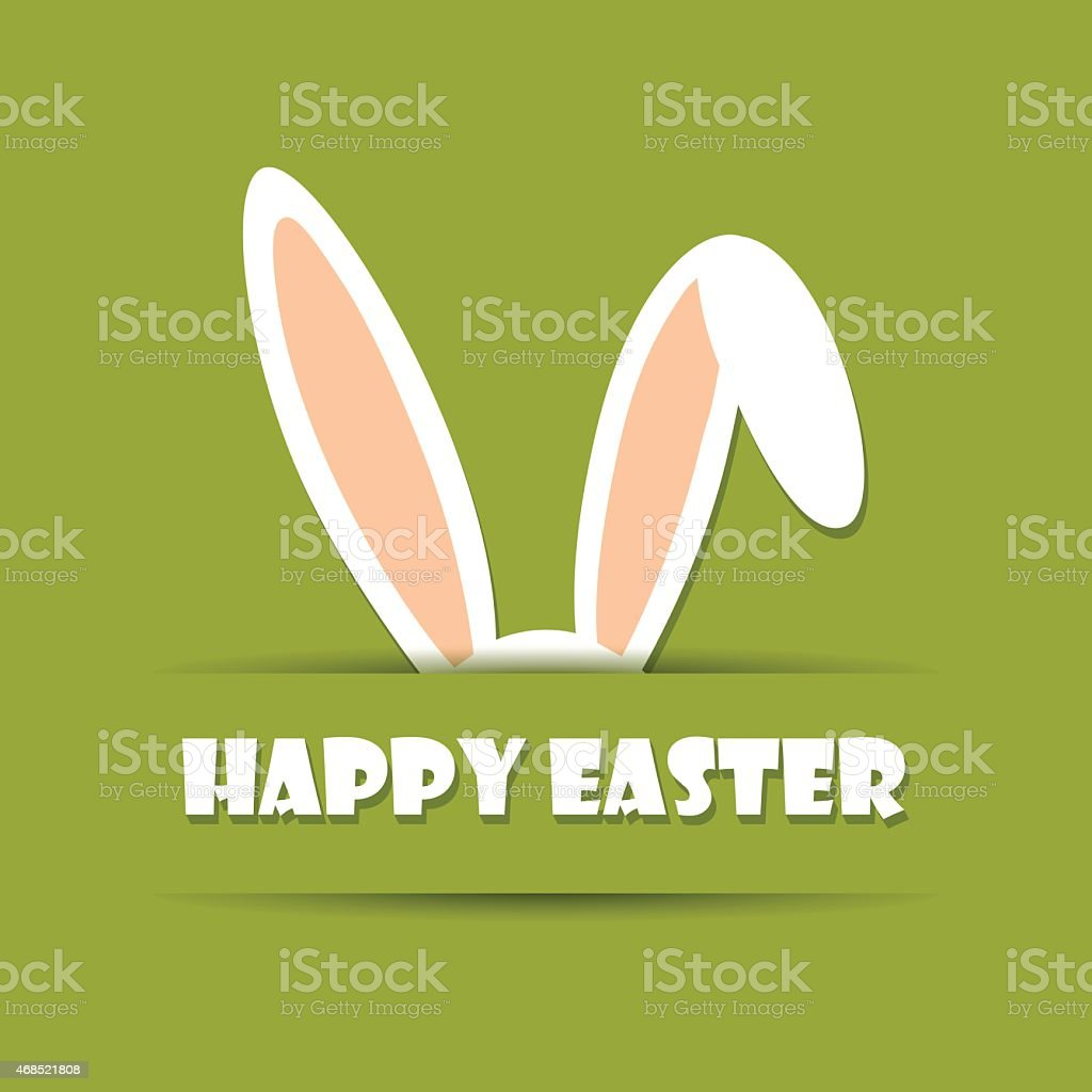 A green background with happy Easter in white with ears vector art illustration