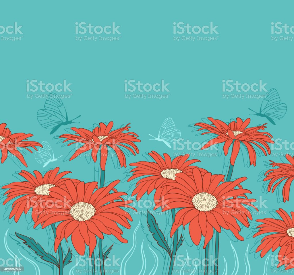Green background with red gerbera royalty-free stock vector art