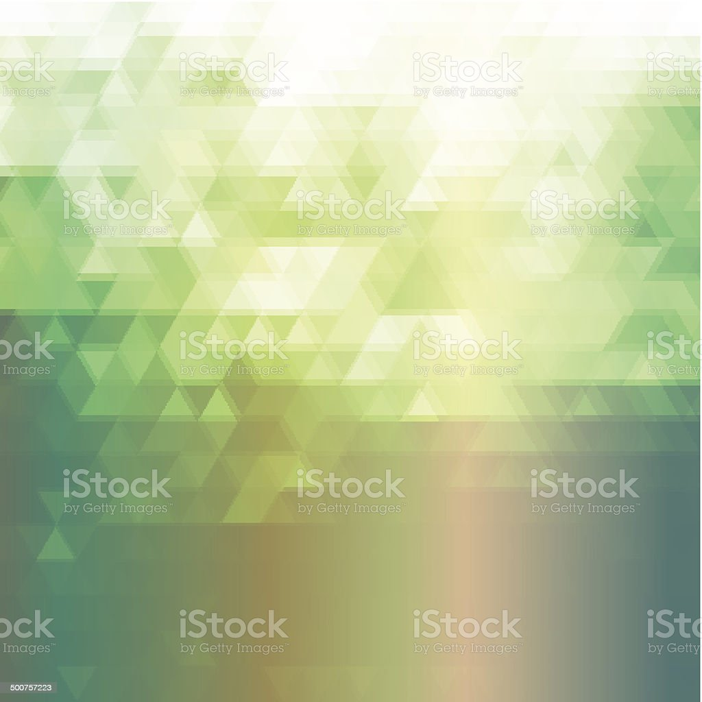 Green background with triangle pattern vector art illustration