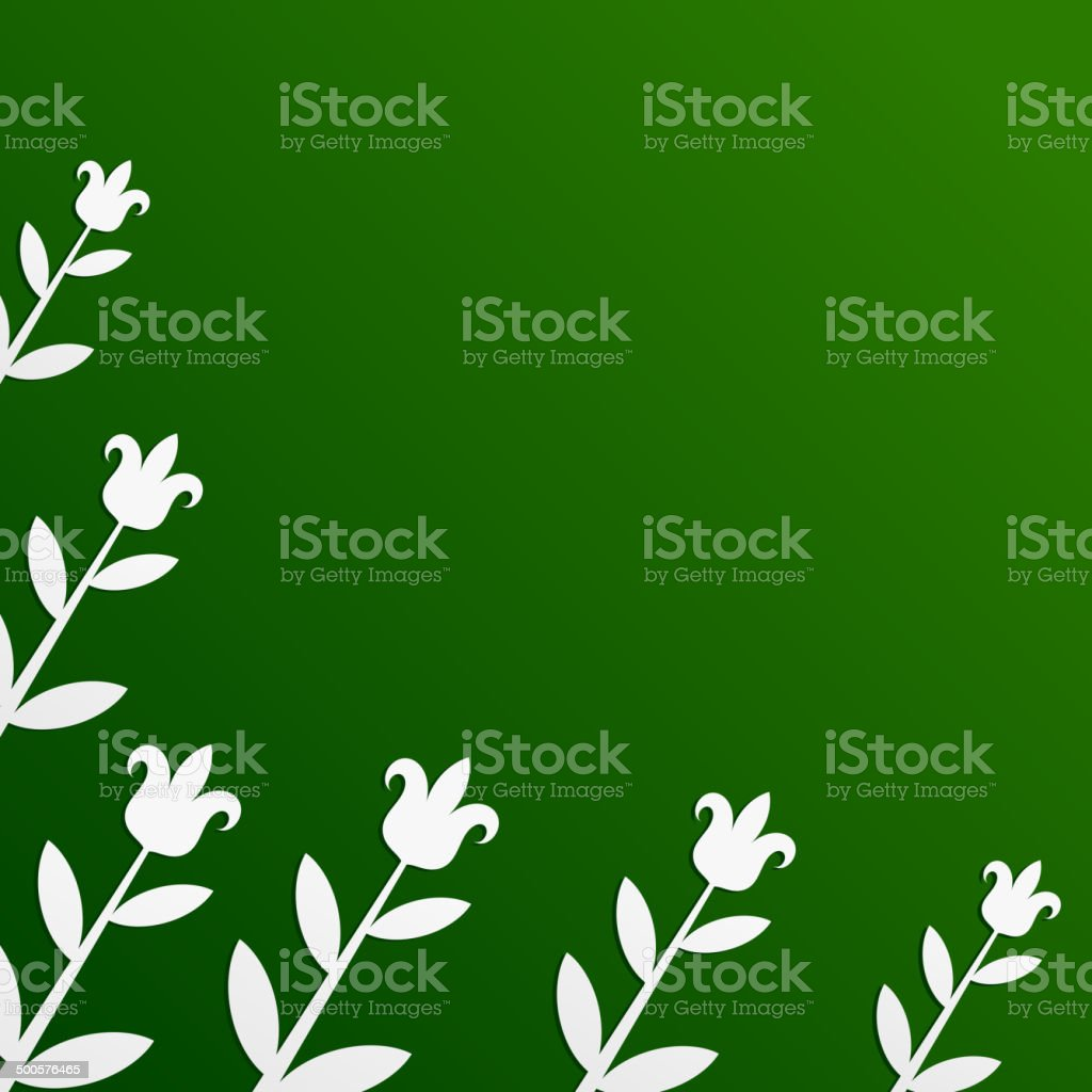 Green background with tulips vector art illustration