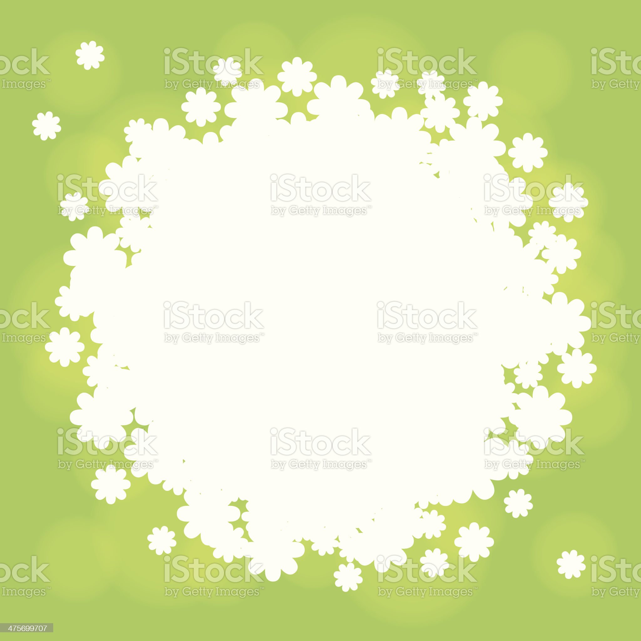 Green background with white flowers royalty-free stock vector art